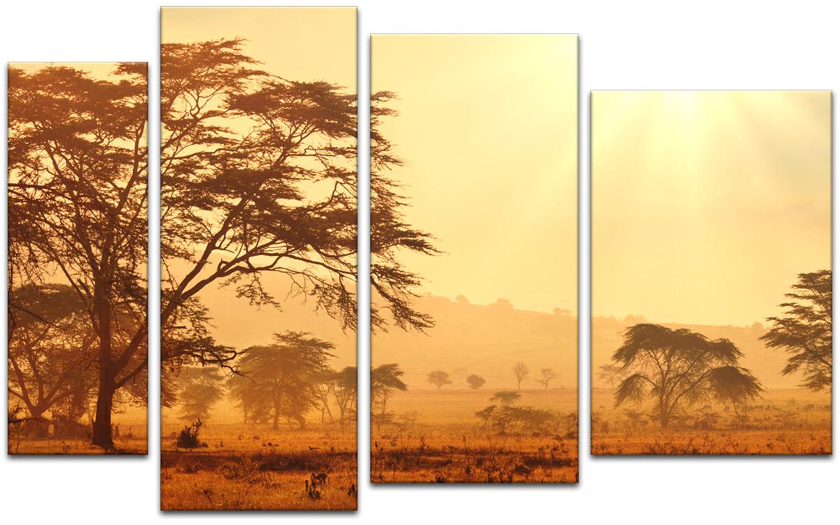Картина модульная Картиномания Африканская саванна на рассвете, 90 х 57 см, Дерево, Холст