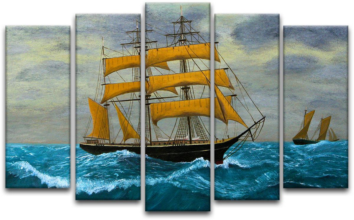 Картина модульная Картиномания Парусные клипера в море, 90 х 57 см, Дерево, Холст цена