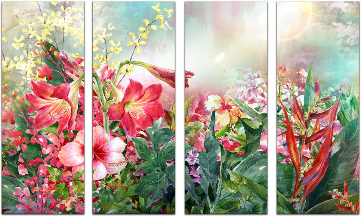 Картина модульная Картиномания Море цветов, 90 х 57 см, Дерево, Холст цена