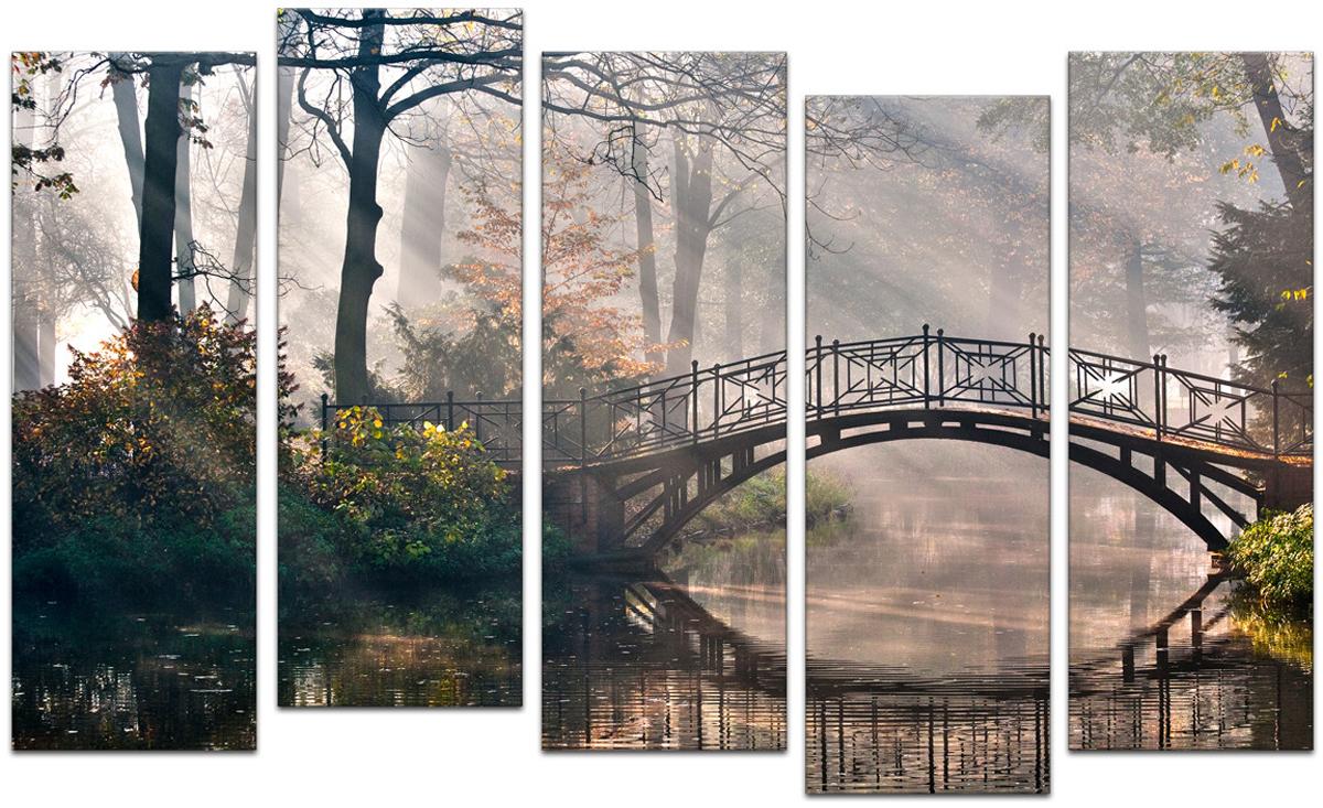Картина модульная Картиномания Мост в Мистик-парке, 90 х 57 см, Дерево, Холст картина модульная картиномания красный бриллиант 90 х 57 см