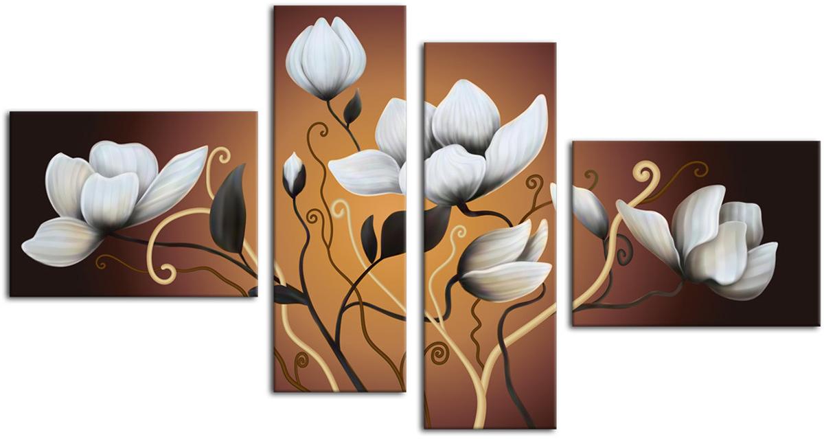 Картина модульная Картиномания Белые цветы, 90 х 50 см, Дерево, Холст картина модульная картиномания красный бриллиант 90 х 57 см