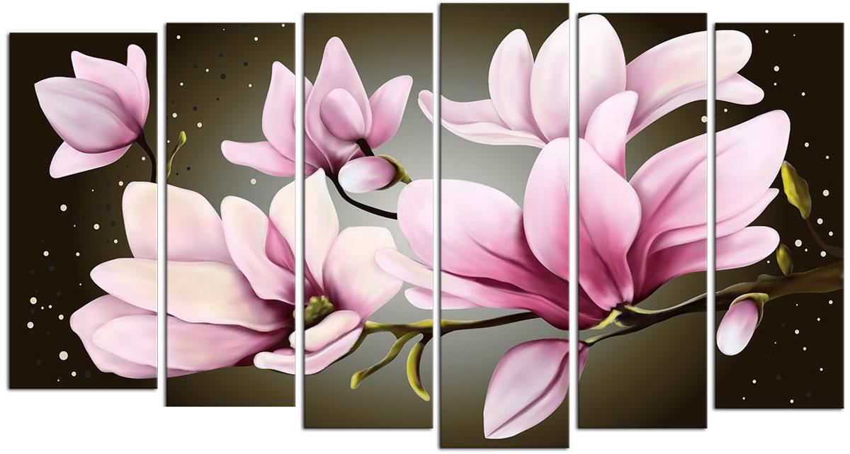 Картина модульная Картиномания Звездные розовые цветы, 90 х 50 см, Дерево, Холст