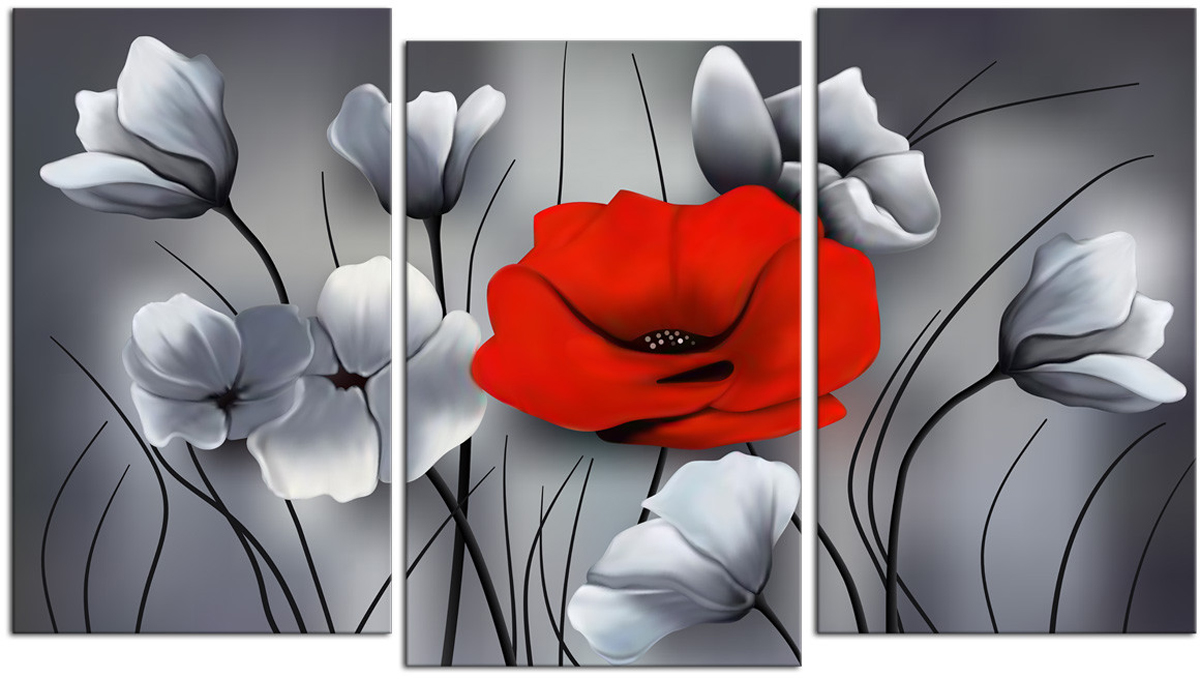 Картина модульная Картиномания Красный бриллиант, 90 х 57 см, Дерево, Холст картина модульная картиномания красный бриллиант 90 х 57 см