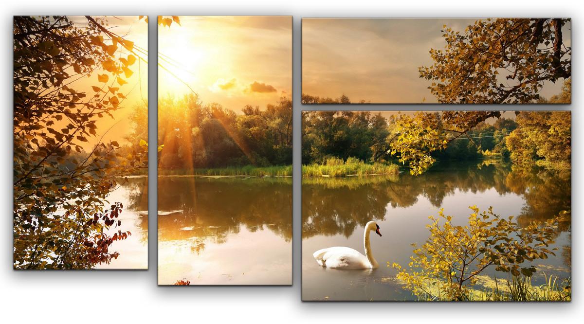 Картина модульная Картиномания Лебедь на пруду, 90 х 57 см, Дерево, Холст