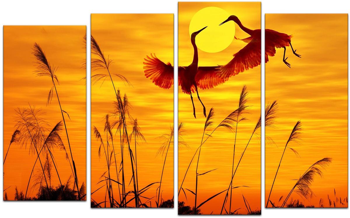 Картина модульная Картиномания Аисты на закате, 90 х 57 см, Дерево, Холст картина модульная картиномания модный антиквариат 90 х 57 см дерево холст