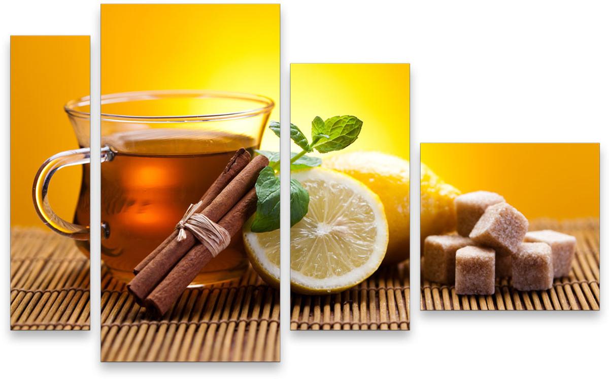 Картина модульная Картиномания Чай с лимоном, 90 х 57 см, Дерево, Холст