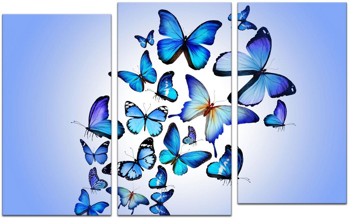 Картина модульная Картиномания Триптих голубые бабочки, 90 х 57 см, Дерево, Холст