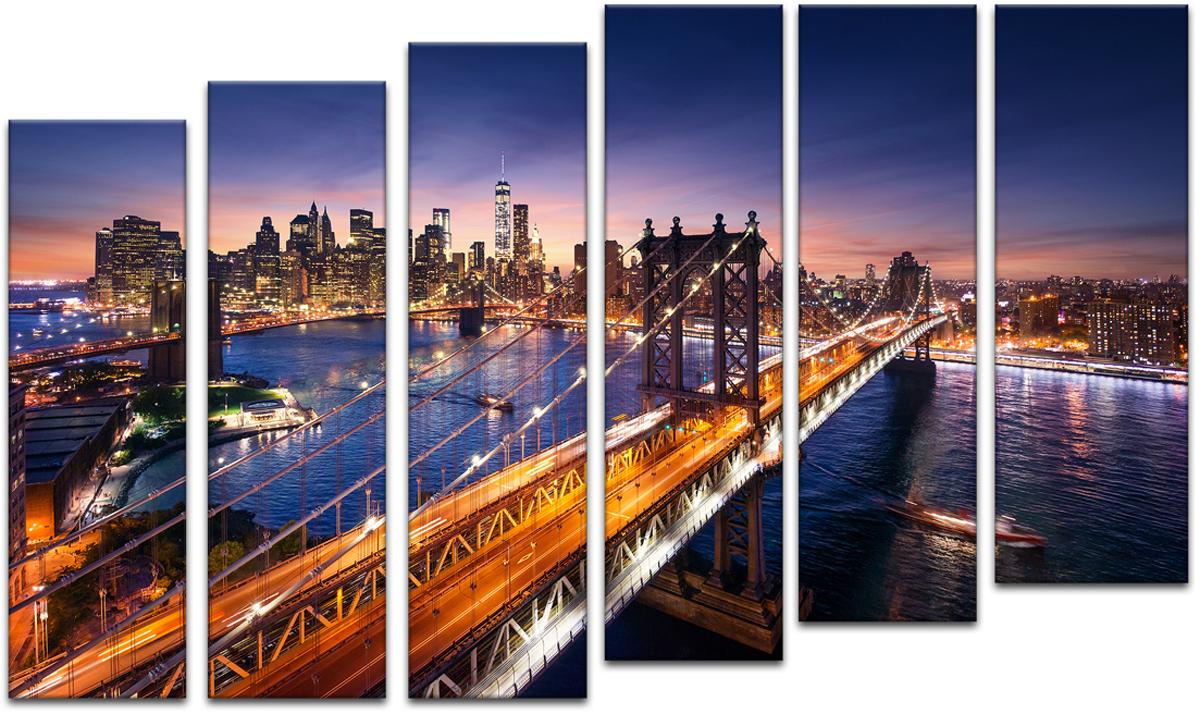 Картина модульная Картиномания Красивый закат на Манхеттене, 90 х 57 см, Дерево, Холст репродукция 5 модульная закат на море 1350х820мм холст