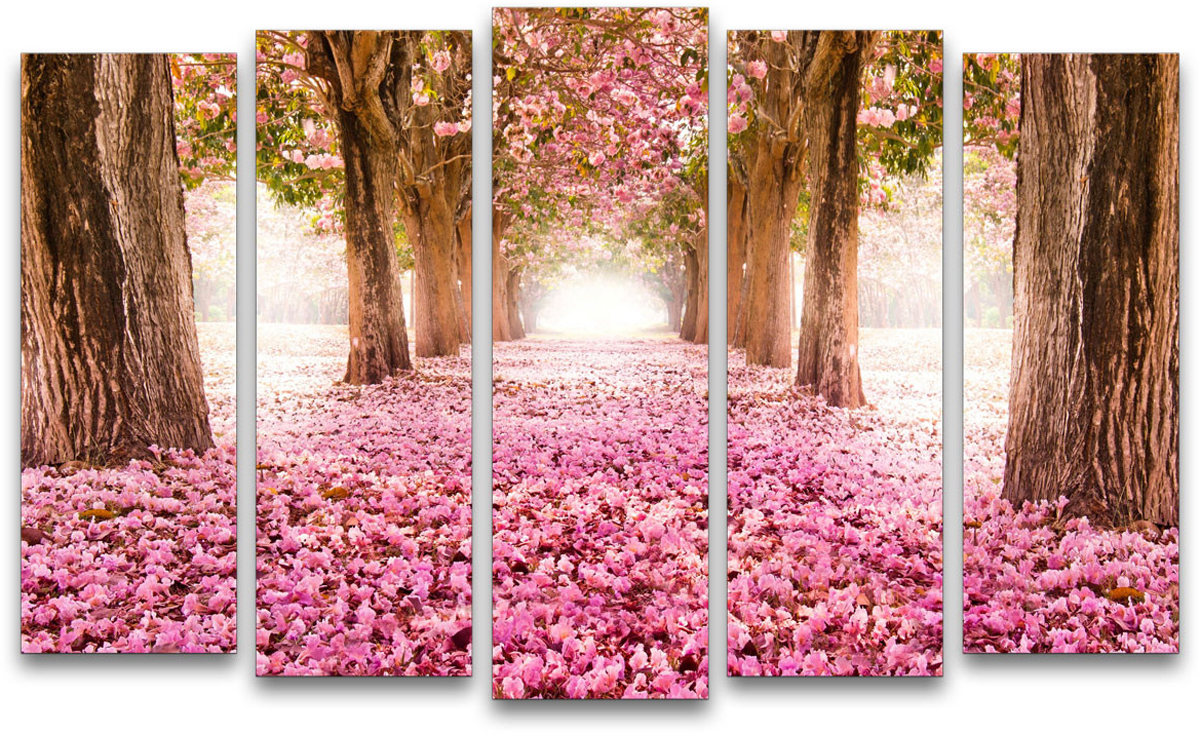 Картина модульная Картиномания Розовая пелена, 90 х 57 см, Дерево, Холст картина модульная картиномания красный бриллиант 90 х 57 см