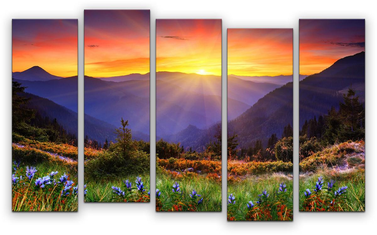 Картина модульная Картиномания Горный пейзаж, 90 х 57 см, Дерево, Холст картина модульная картиномания красный бриллиант 90 х 57 см