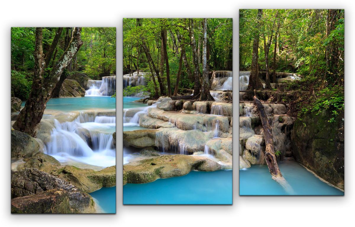 Картина модульная Картиномания Водопад, 90 х 57 см, Дерево, Холст картина модульная картиномания красный бриллиант 90 х 57 см