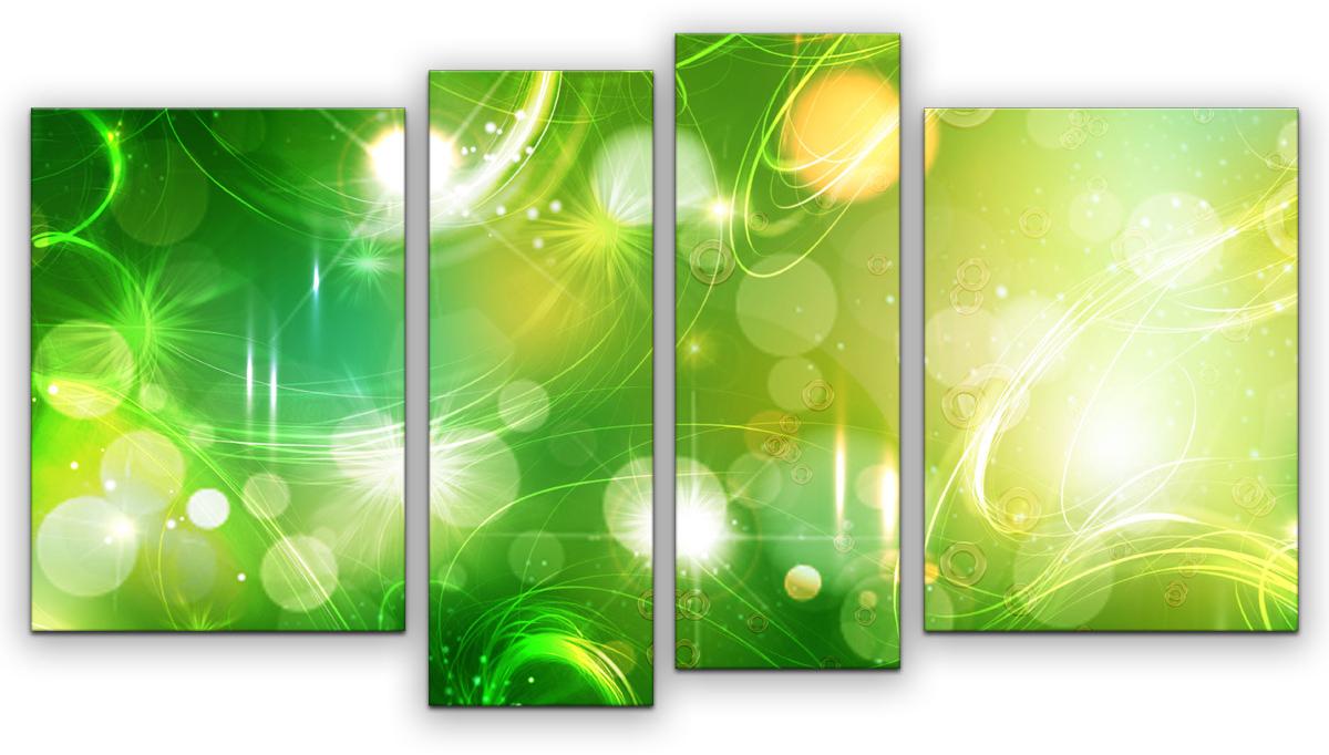 Картина модульная Картиномания Зеленая абстракция, 90 х 50 см, Дерево, Холст картина модульная картиномания красный бриллиант 90 х 57 см