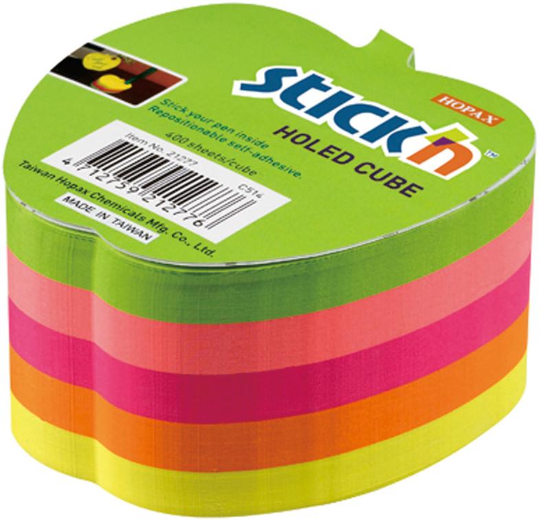 Stickn Блок неоновый самоклеящийся 70 x 70 мм 400 листов 5 цветов822692Яркие самоклеящиеся листочки привлекают к себе внимание и удобны для заметок, объявлений и других коротких сообщений. Легко крепятся к любой поверхности, не оставляют следов после отклеивания. Блок для записи в неоновых цветах, выполнен в форме яблока. Имеет отверстие для ручки.