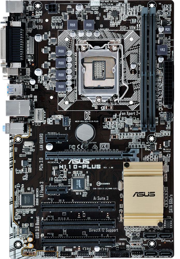 ASUS H110-PLUS материнская плата материнская плата asus h110i plus d3 socket 1151 h110 2xddr3 1xpci e16x 4xsata3 d sub dvi hdmi 4xusb3 0 glan mini itx ret