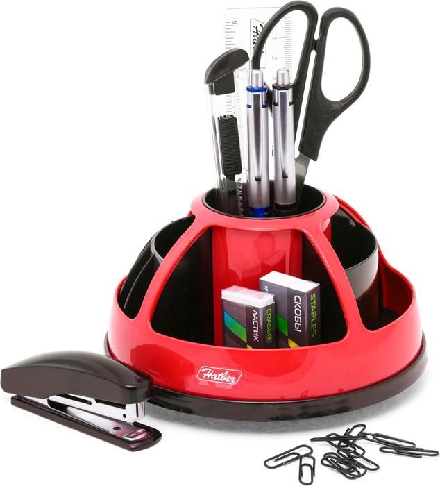 Hatber Органайзер настольный комбинированный вращающийся Comfort цвет красный 9 предметов