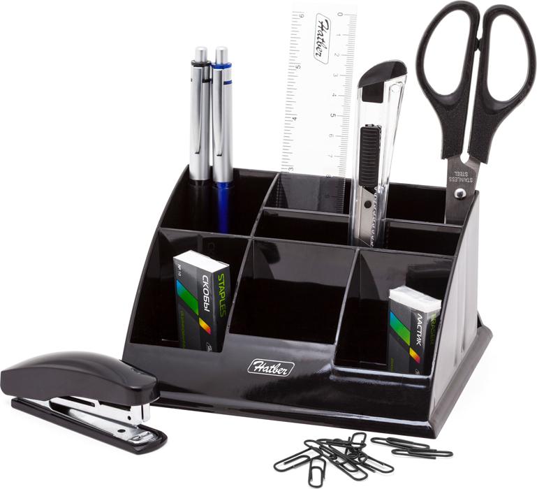 Hatber Органайзер настольный Office цвет черный 9 предметов