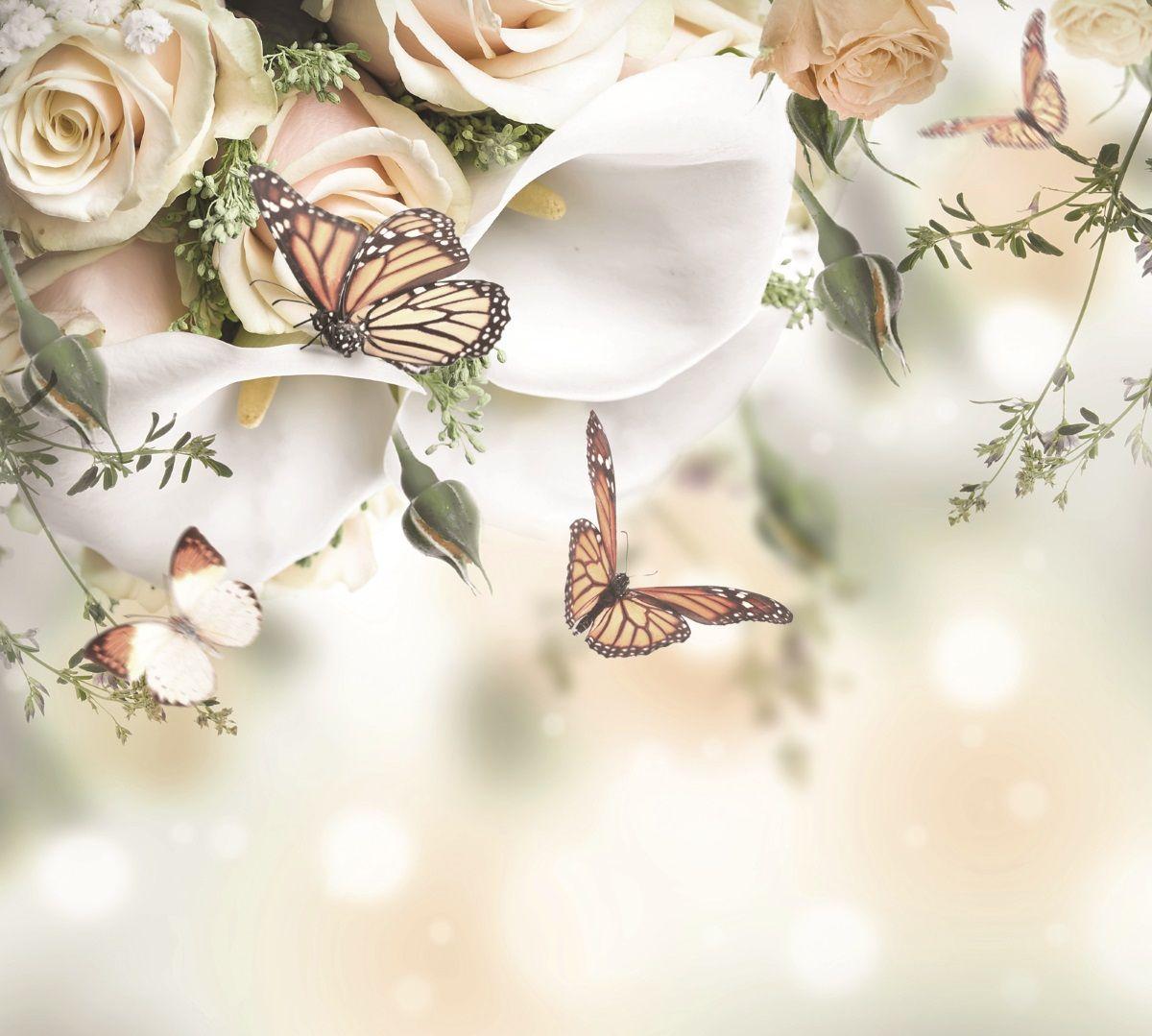 Фотообои флизелиновые Московская обойная фабрика Лилии и бабочки, 300 х 270 см фотообои флизелиновые московская обойная фабрика белая лошадь 300 х 270 см