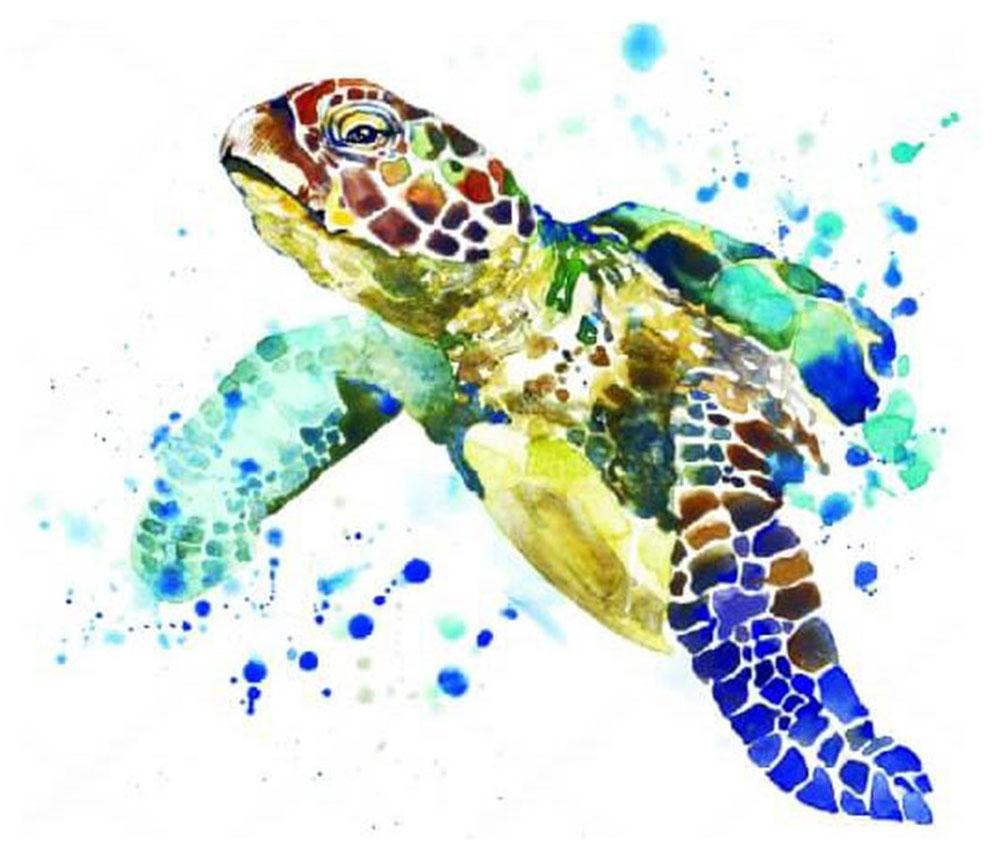 Набор для создания картины со стразами Цветной Черепаха, 30 х 40 см. LE015 набор для создания картины из шерсти цветной единорог 20 x 30 см