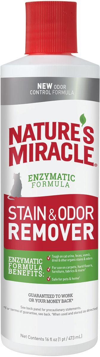Уничтожитель пятен и запахов от кошек 8in1 NM JFC S&O Remover, универсальный, 473 мл уничтожитель пятен и запахов с усиленной формулой 8in1 nature's miracle just for cats advanced stain odor remover спрей для кошек 709мл