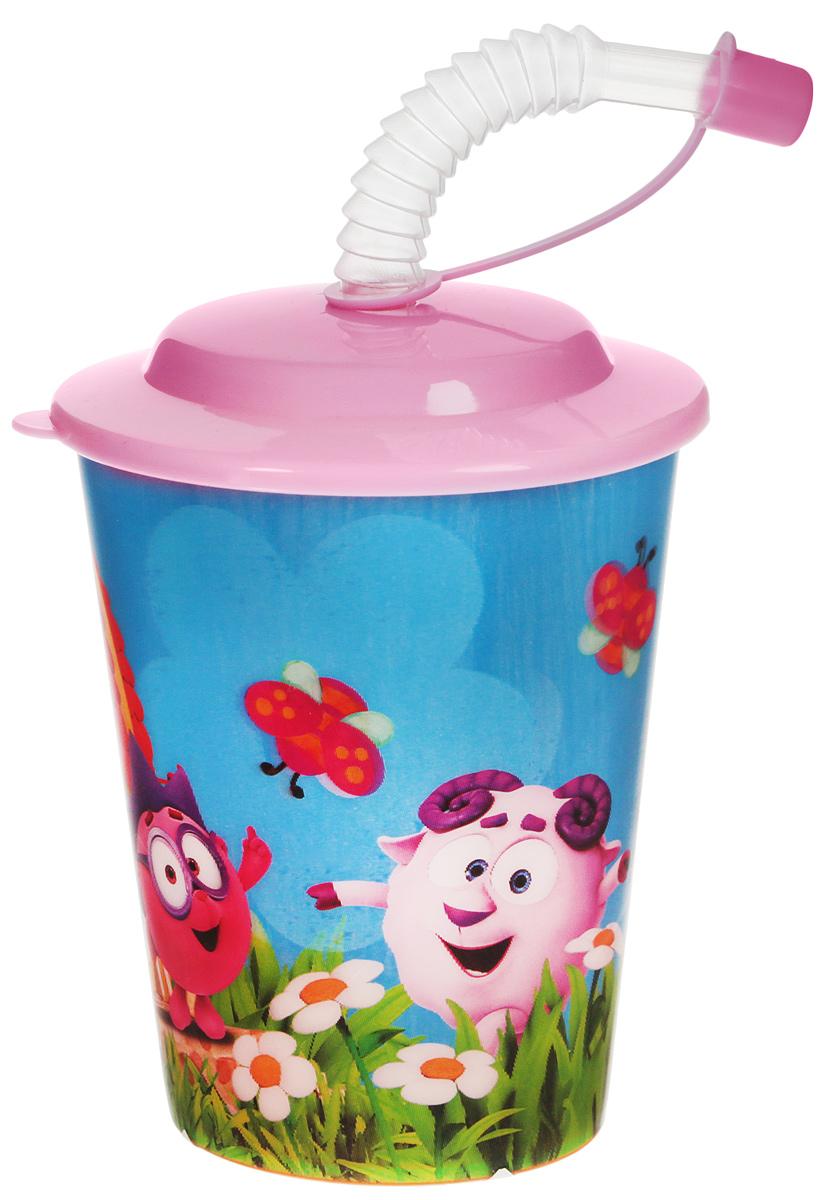 Смешарики Стакан детский с крышкой и трубочкой цвет в ассортименте 400 мл SMT400-01 disney стакан детский тачки 3 с крышкой и трубочкой 400 мл