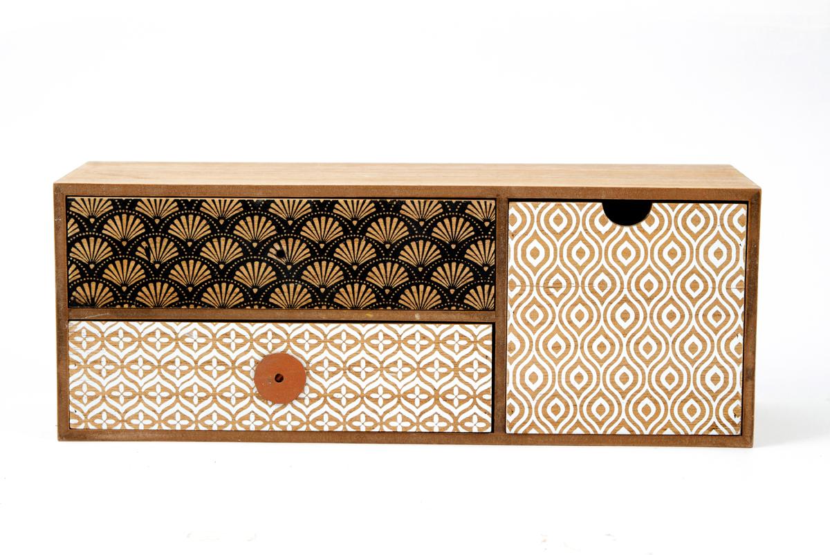 Шкатулка для хранения, цвет: коричневый, 36 х 12 х 14 см. 38601