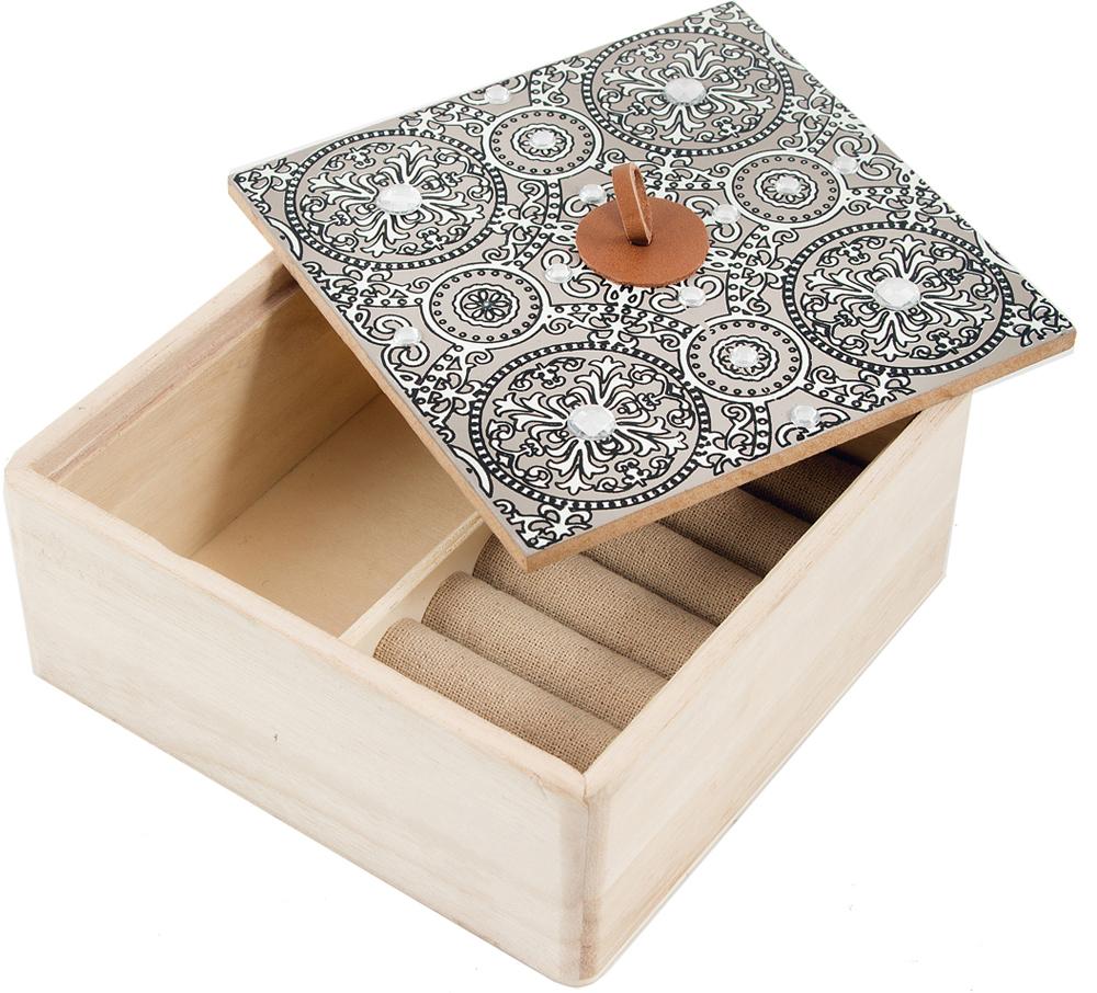 Шкатулка для украшений, цвет: серый, 15 х 15 х 5 см. 38609