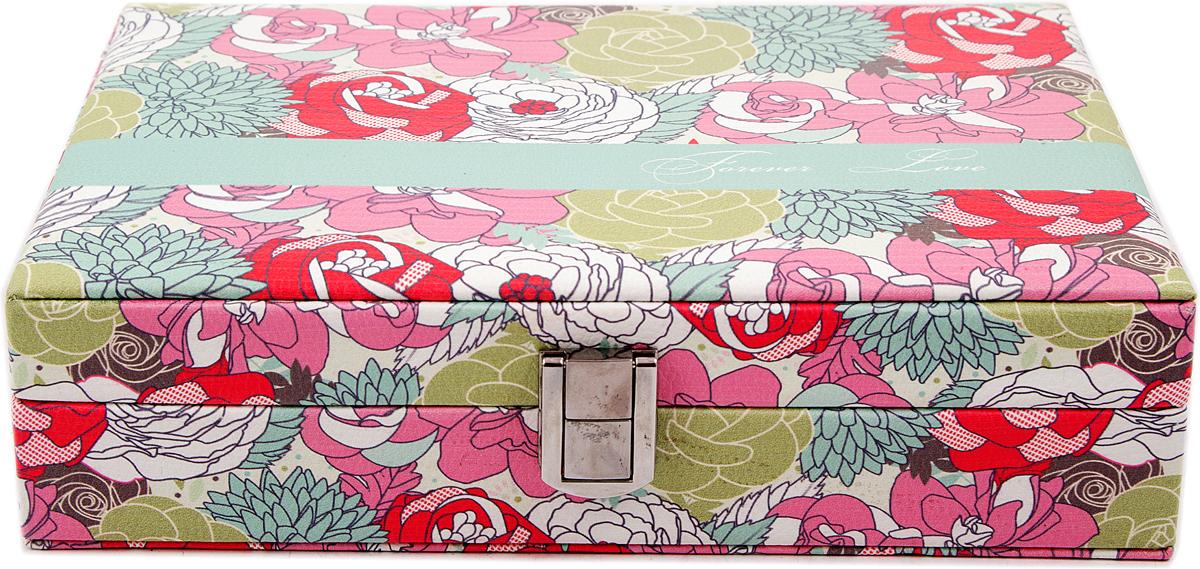 Шкатулка для украшений, цвет: розовый, 24 х 17 х 6 см. 84576