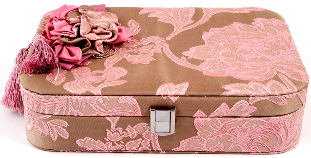 Шкатулка для украшений, цвет: розовый, 28 х 20 х 10 см. 84587