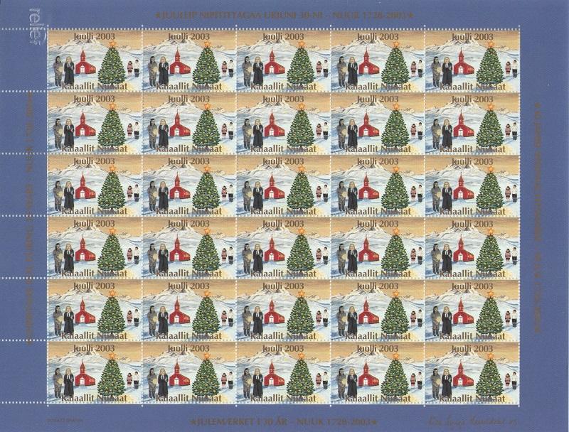 Лист непочтовых марок. Гренландия. Рождество. 2003 год лист непочтовых марок гренландия рождество 1989 год