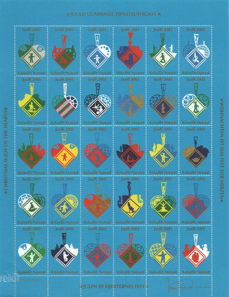 Лист непочтовых марок. Гренландия. Рождество. 2005 год лист непочтовых марок гренландия рождество 1989 год