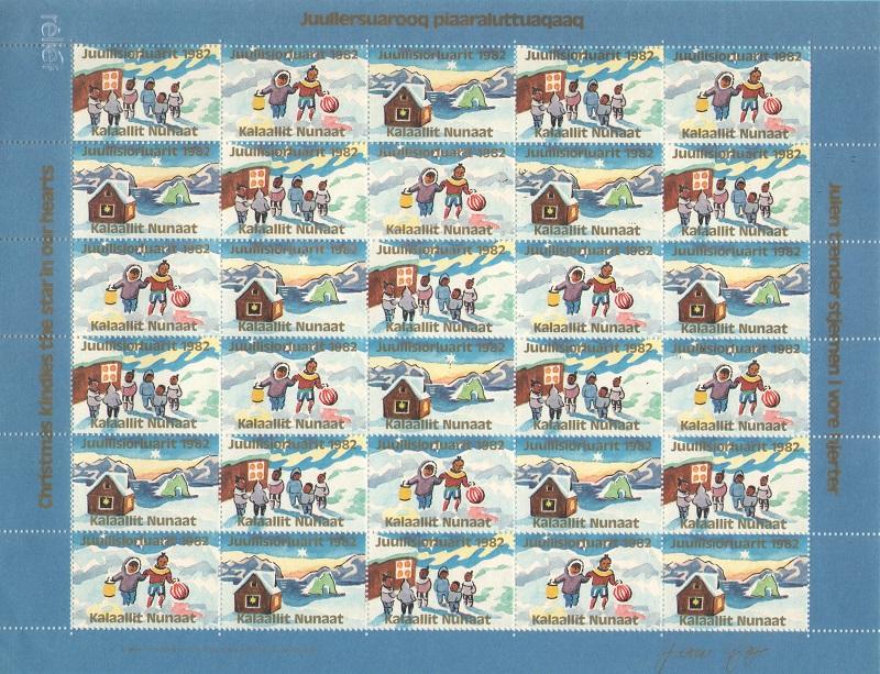 Лист непочтовых марок. Гренландия. Рождество. 1982 год лист непочтовых марок гренландия рождество 1989 год