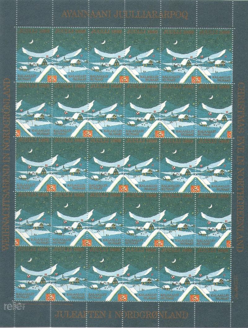 Лист непочтовых марок. Гренландия. Рождество. 1989 год лист непочтовых марок гренландия рождество 1989 год