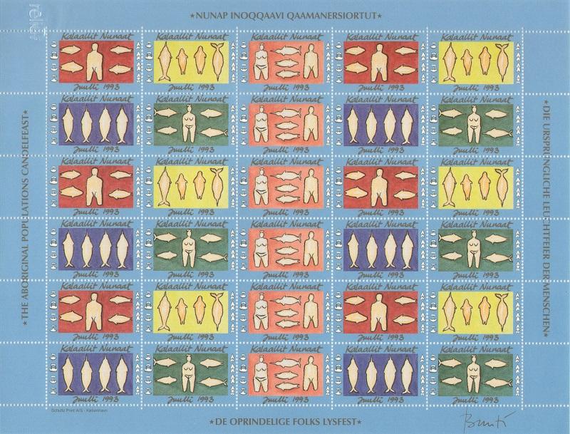 Лист непочтовых марок. Гренландия. Рождество. 1993 год лист непочтовых марок гренландия рождество 1989 год