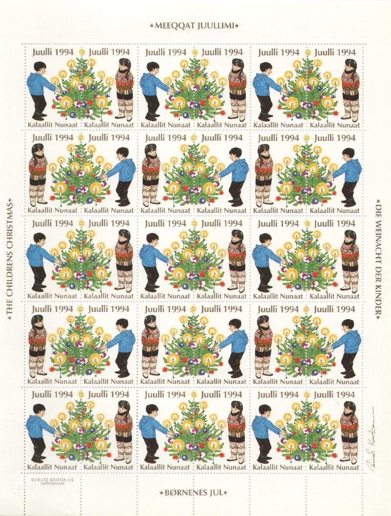 Лист непочтовых марок. Гренландия. Рождество. 1994 год лист непочтовых марок гренландия рождество 1989 год