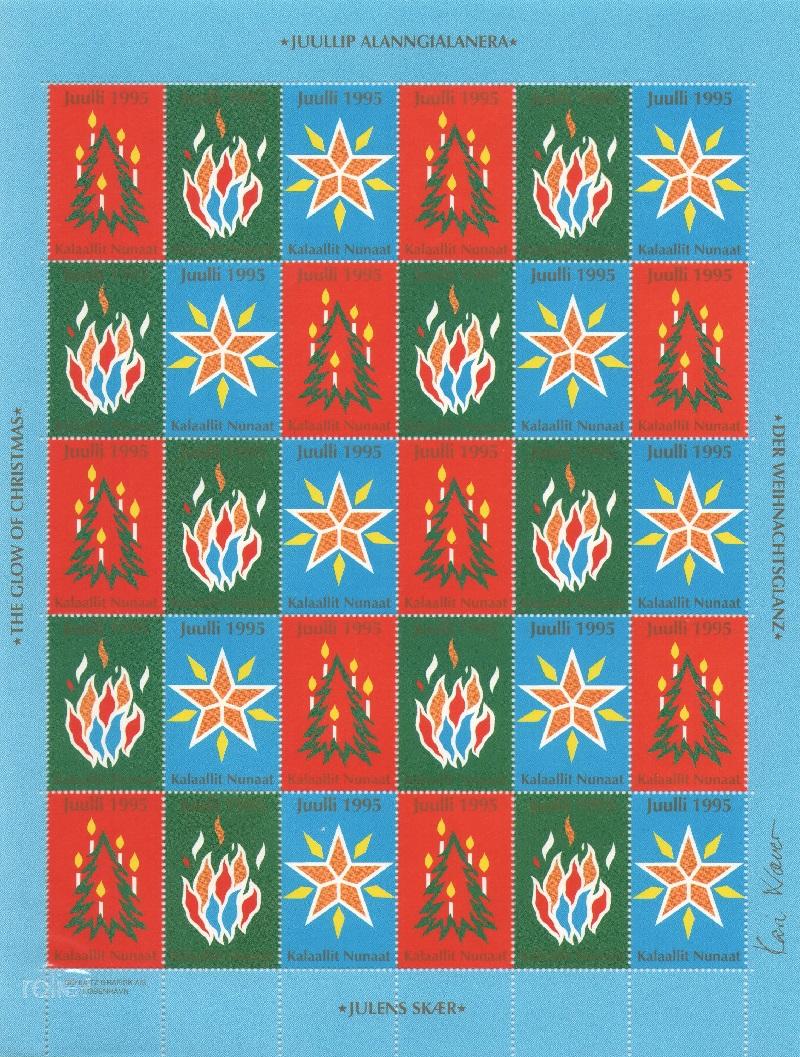 Лист непочтовых марок. Гренландия. Рождество. 1995 год лист непочтовых марок гренландия рождество 1989 год