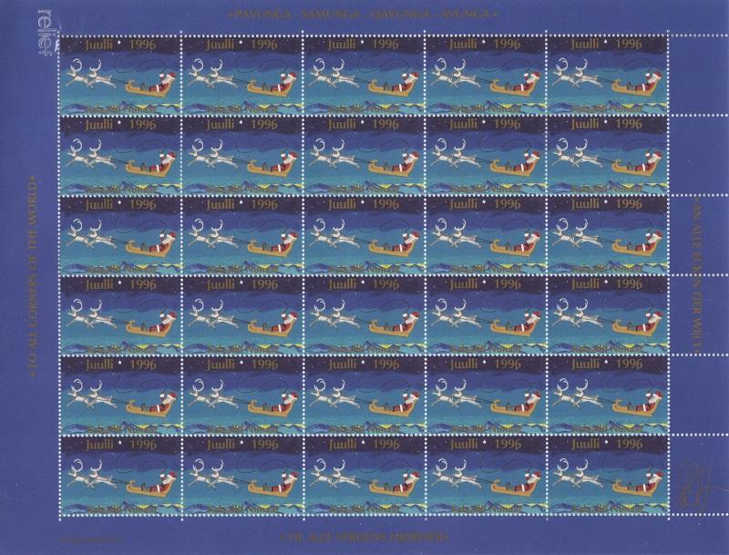 Лист непочтовых марок. Гренландия. Рождество. 1996 год лист непочтовых марок гренландия рождество 1989 год