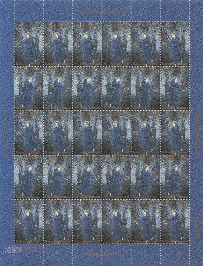 Лист непочтовых марок. Гренландия. Рождество. 1997 год лист непочтовых марок гренландия рождество 1989 год