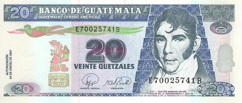 Банкнота номиналом 20 кетсалей. Гватемала. 2007 год купюра 5 кетцаль гватемала 2008 год