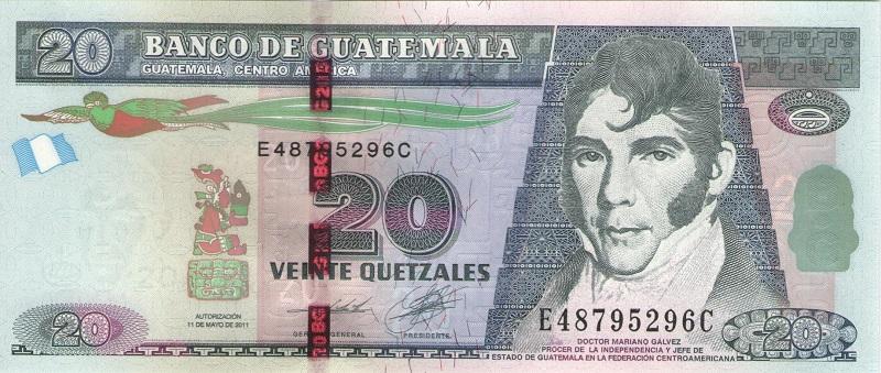 Банкнота номиналом 20 кетсалей. Гватемала. 2011 год купюра 5 кетцаль гватемала 2008 год