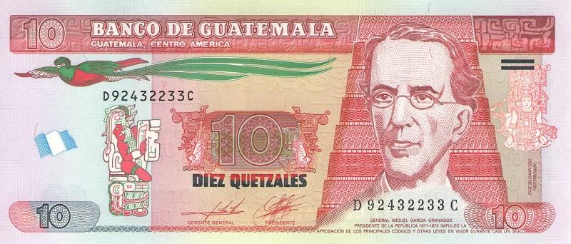 Бакннота номиналом 10 кетсалей. Гватемала. 2012 год купюра 5 кетцаль гватемала 2008 год
