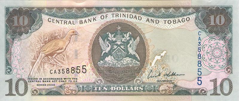 Банкнота номиналом 10 долларов. Тринидад и Тобаго. 2006 год банкнота номиналом 500 долларов зимбабве 2006 год