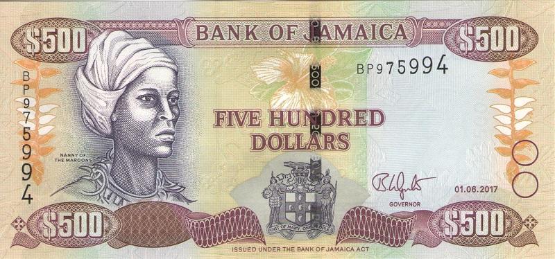Банкнота номиналом 500 долларов. Ямайка. 2017 год банкнота номиналом 500 долларов зимбабве 2006 год