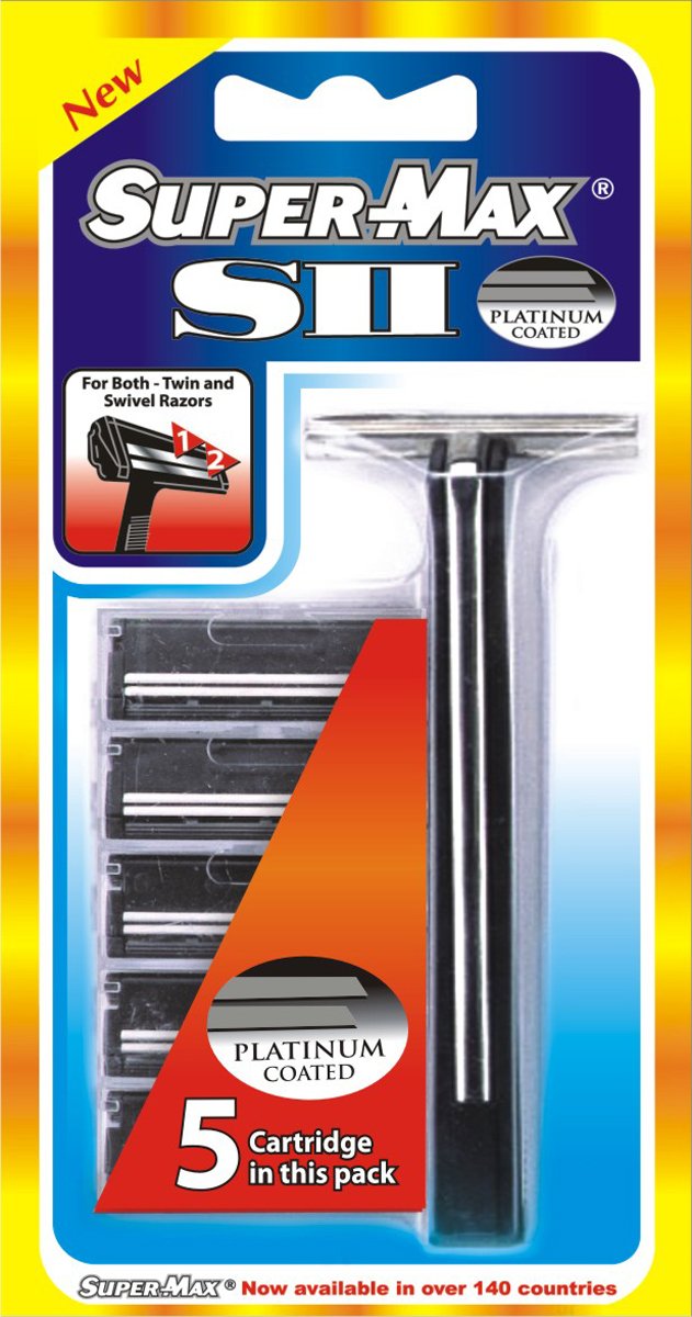 купить Super-Max S2 Многоразовый станок + 5 сменных картриджей с двойным лезвием по цене 173 рублей