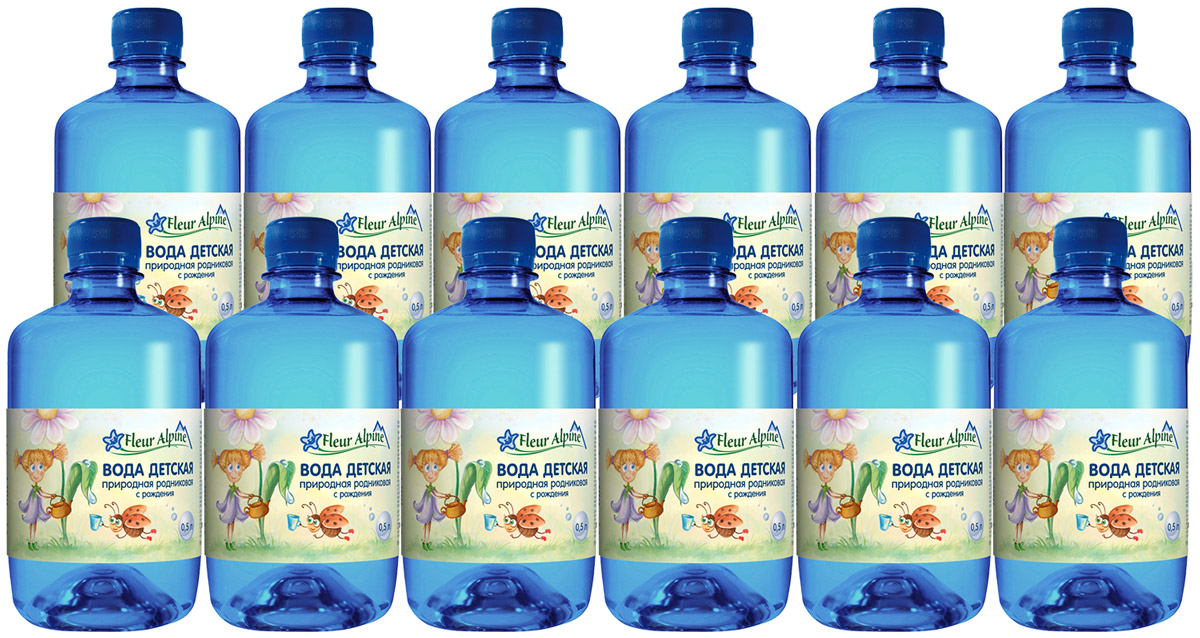 Fleur Alpine Вода детская питьевая с рождения, 12 шт по 0,5 л