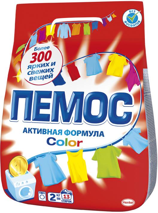 Стиральный порошок Пемос Color, для цветного белья, 2 кг стиральный порошок для ручной стирки пемос 350 г
