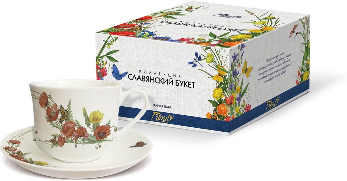 Чайная пара PrioritY Славянский букет. Маки, 480 мл, 2 предмета цена