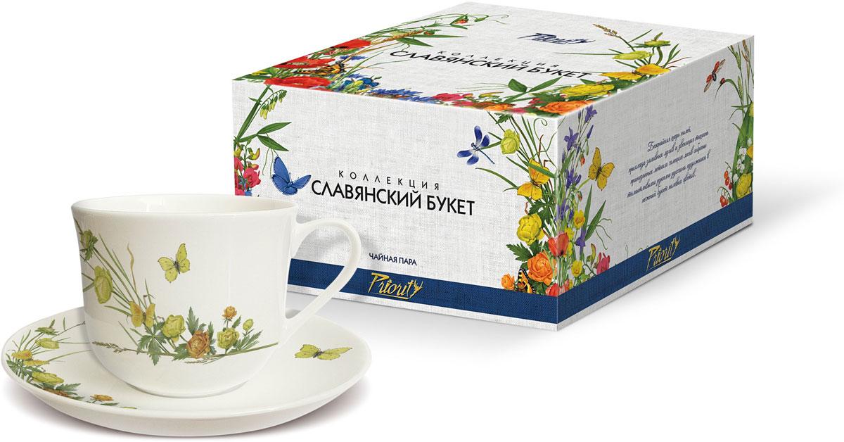 Чайная пара PrioritY Славянский букет. Купальница, 480 мл, 2 предмета цена