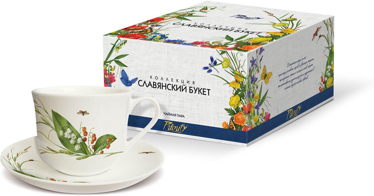 Чайная пара PrioritY Славянский букет. Ландыши, 480 мл, 2 предмета цена