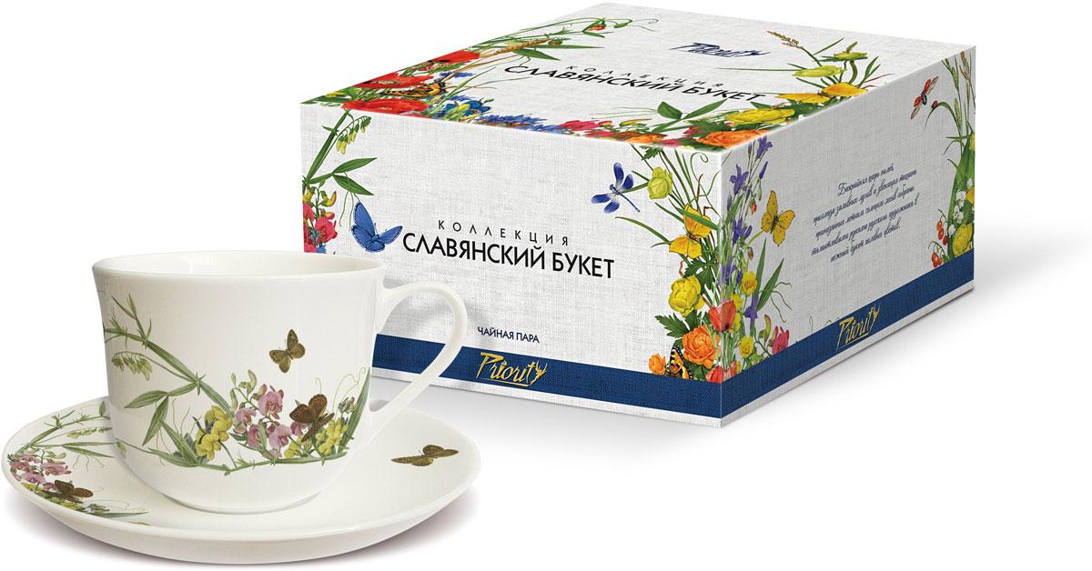 Чайная пара PrioritY Славянский букет. Горошек, 480 мл, 2 предмета цена