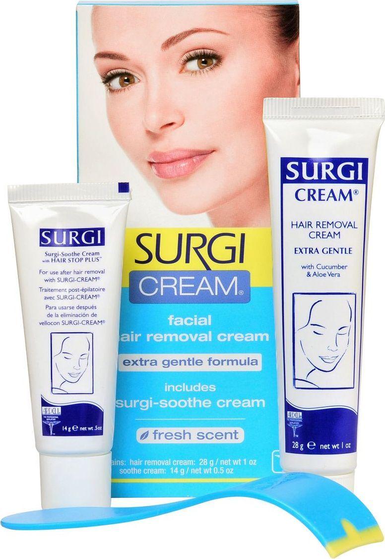 Surgi Набор Cream Extra Gentle Formula: крем для удаления волос на лице, успокаивающий крем surgi wax facial воск для удаления волос на лице